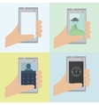 Set of 4 phone in hand vector image vector image