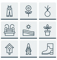set of 9 farm icons includes water monument vector image vector image