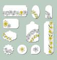set of labels with narcissus flowers vector image