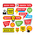 set quick tips - concept badge vector image vector image