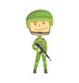 soldier character in camouflage uniform with vector image vector image