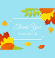 thank you card autumn background vector image vector image