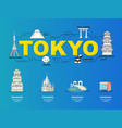 tokyo sightseeing tour with landmark icons in vector image