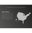 USA map infographics template with highlighted New vector image vector image