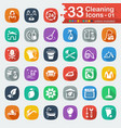white flat cleaning icons vector image