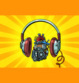 headphones and steampunk heart motor vector image