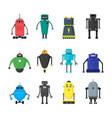 cartoon cute toy robots color icons set vector image