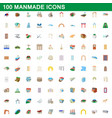 100 manmade icons set cartoon style vector image vector image