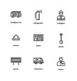 9 firefighter icons vector image vector image