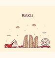 baku skyline azerbaijan city linear style