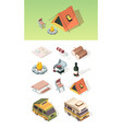 barbecue isometric picnic table bbq steak camper vector image vector image