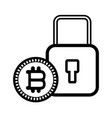 bitcoins and padlock black and white vector image vector image