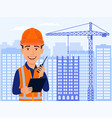 builder civil engineer smile cartoon character vector image