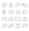 camera and photography icons set outline vector image