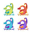 cartoon color fantasy animal dragon set vector image