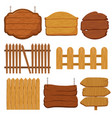 cartoon wooden garden fence blank wood banners vector image vector image
