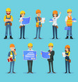 characters of builders and constructors vector image vector image