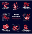 christmas hand drawn sketch icons on dark blue vector image vector image
