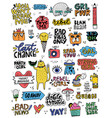 cute sticker collection vector image vector image