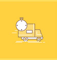 delivery time shipping transport truck flat line vector image
