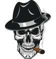 Evil skull with cigar vector image vector image