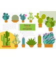 flat cactuses home garden composition vector image vector image