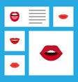 flat icon lips set of lips teeth tongue and vector image vector image