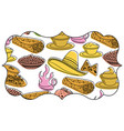 frame with mexican food pattern background vector image vector image