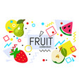 fruits on abstract summer background with drops vector image