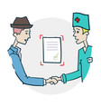 handshake of doctor and citizen icon vector image vector image