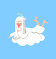 happy god character resting on white cloud vector image