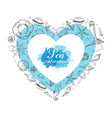 heart from summer marine elements vector image vector image