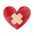 heart with cure band icon vector image vector image