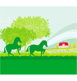 Horses in field vector image vector image