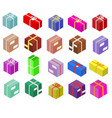 Isometric boxes isolated on white icons