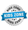 kids zone round isolated silver badge vector image vector image
