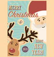 merry christmas card with santa claus and reindeer vector image vector image