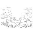mountains hills and trees vector image vector image