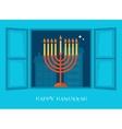 night city view of open window Hanukkah menorah vector image vector image