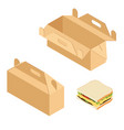 paper lunch box and sandwich vector image