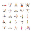physical workout flat icons vector image vector image