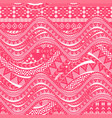 pink waves background ethnic seamless pattern vector image vector image