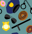 Police set seamless pattern Police uniforms and vector image