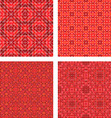 Red seamless mosaic pattern design background set vector image vector image