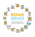 repair service round design template thin line vector image vector image