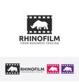 rhino film logo design vector image vector image