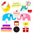 set different birthday party elements vector image