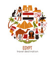 set egypt symbols and landmarks flat vector image