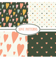 Set of retro love patterns Seamless background vector image vector image
