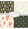 set retro love patterns seamless background vector image